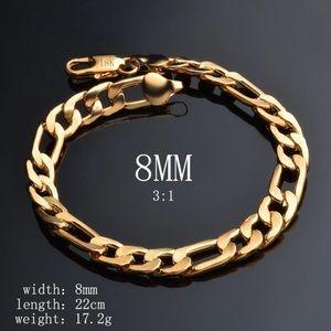 18K Real Gold Plated Figaro Chain Bracelet For Men